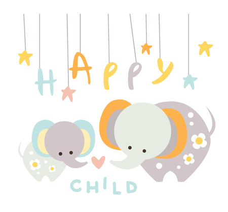 big family: Cute Small Elephant with Mom. Vector Illustration in Flat Style