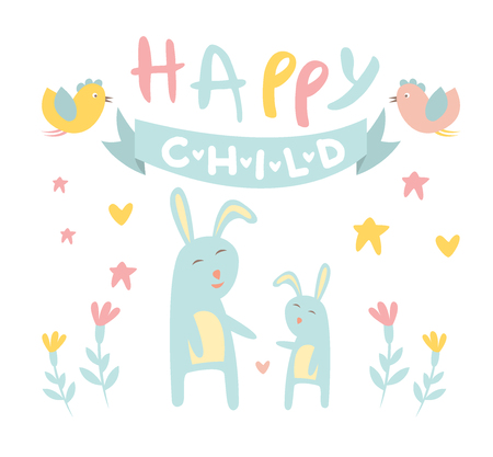 Cute Childish Bunny with Mom Flat Vector Illustration