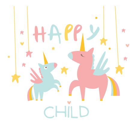 pegasus: Lindo Peque�o unicornio con mam�. Ilustraci�n vectorial Flat.
