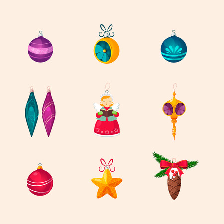 Christmas Tree Decorations. Bright Vector Icon Collection