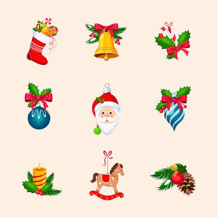 botas de navidad: Christmas Tree Decorations. Bright Vector Icon Collection
