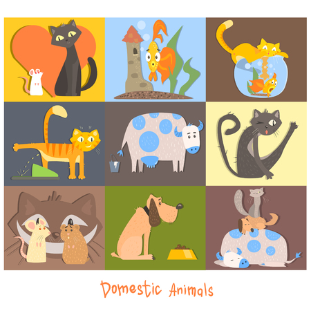milk pail: Cute Pets, Cats, Dogs and their Actions and Emotions. Vector Illuatration Set Illustration