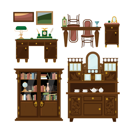 sideboard: Classic furniture set in flat style vector illustration