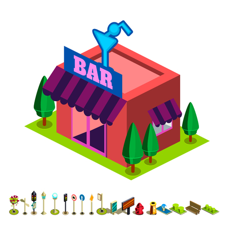 overhang: Vector isometric bar building icon infographic elements