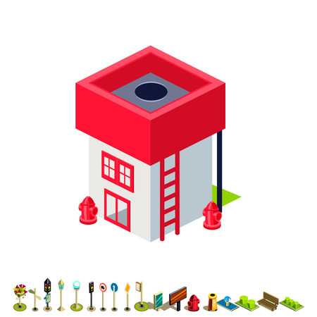 building fire: Vector isometric fire station building icon infographic elements