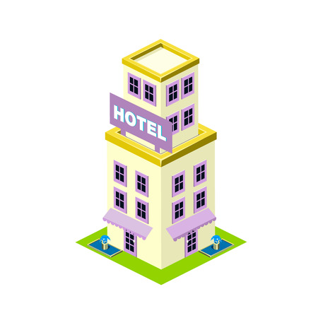 front of house: Vector isometric hotel building icon infographic elements