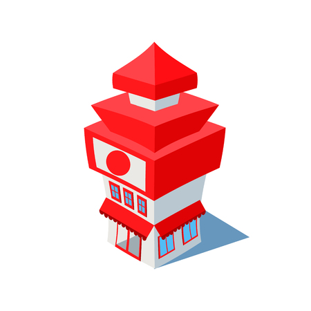 overhang: Vector isometric sushi restaurant cafe building icon