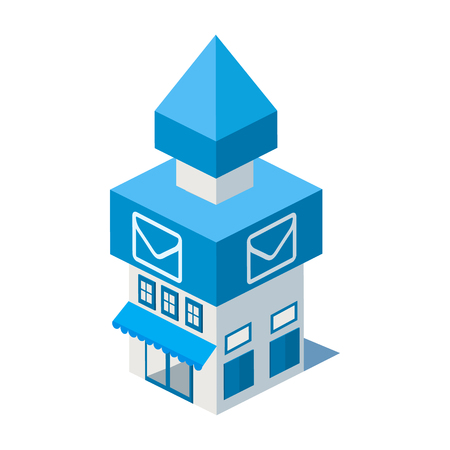 post office building: Vector isometric post office building icon infographic elements Illustration