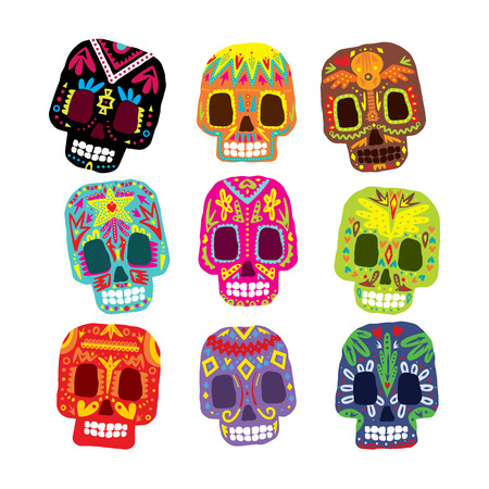 mayas: Mexico flowers, skull elements. Vector illustration set Vettoriali