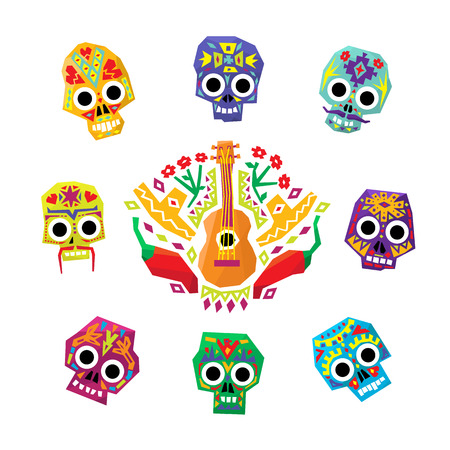 Mexico flowers, skull elements. Vector illustration set  イラスト・ベクター素材