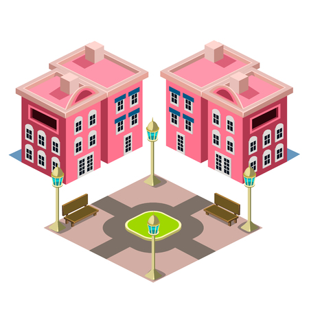 residential zone: House and Park building icon infographic elements Illustration