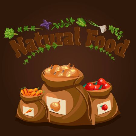 natural food: Natural food, farm products banner and bags with vegetables Illustration