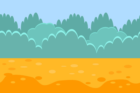 Seamless Horizontal Landscape for a Game, Bushes and Sand. Vector Illustration 向量圖像