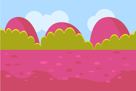 rock layer: Landscape Cartoon Red and Green Seamless Backgrounds for Game. Vector Illustration