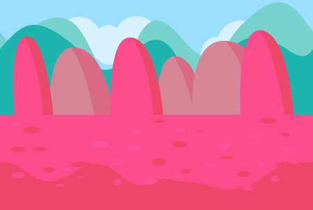 pink hills: Seamless Landscape of Pink Hills for Game, Vector Illustration