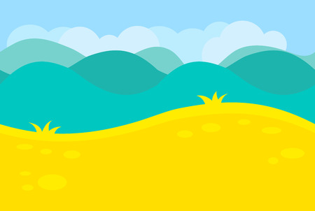 cartoon trees: Cartoon Landscape of Green Meadows, Fields, Hills and Trees for Game, Vector Illustration Illustration