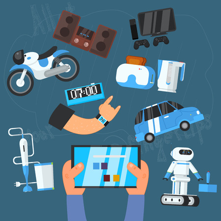 playstation: Internet Technology and DevicesIcons Set, Vector Illustration Illustration