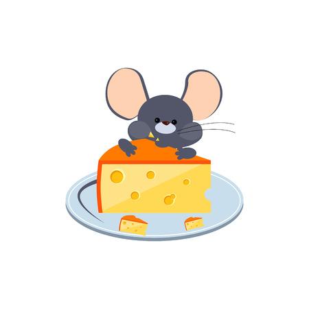 Little Cheese gris ratón de mascar en un plato. Brillante ilustración vectorial