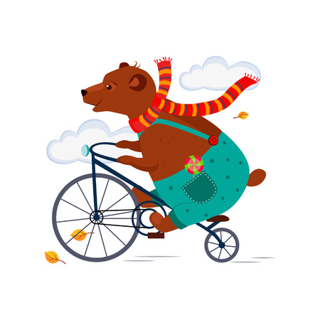 Cute Bear Riding a Bicycle in a Scarf in Autumn. Vector Illustration