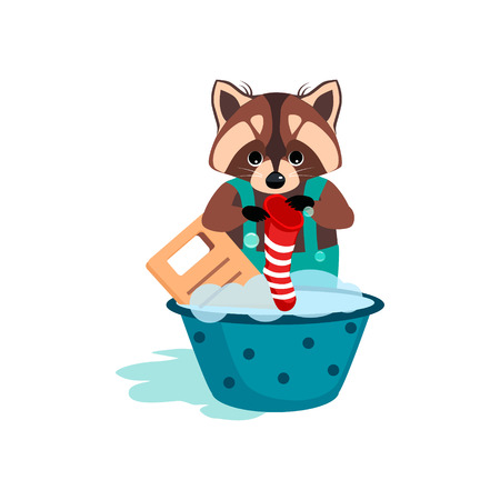 washboard: Raccoon Washes Clothes on the Washboard. Cute Vector Illustration Illustration