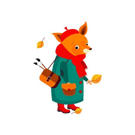 pensive: Cute Fox Artist Walking in Autumn. Vector Illustration