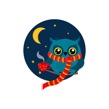 early in the evening: Owl with a Mug of Coffee on a Branch. Cute Vector Illustration Illustration