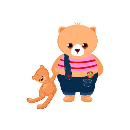 cartoon person: Little Bear Cub holding a Teddy Toy. Cute Vector Illustration