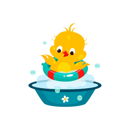 squeak: Cute Duckling in Bathroom. Colourful Vector Illustration