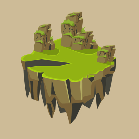 island: Cartoon Stone Grassy Isometric Island for Game, Vector Element