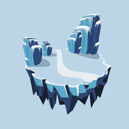 rock layer: Cartoon Isometric Icy Island for Game, Vector Element