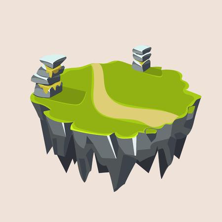 grassy: Cartoon Stone Grassy Isometric Island for Game, Vector Element