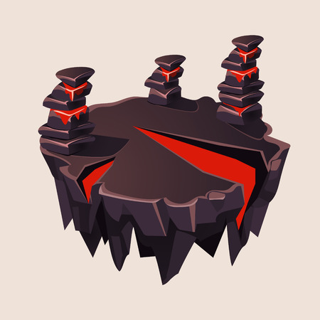 cartoon volcano: Cartoon Stone Isometric Island with Volcano for Game, Vector Element