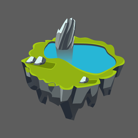 waterfall river: Cartoon Stone Isometric Island with Waterfall and Cliff for Game, Vector Element