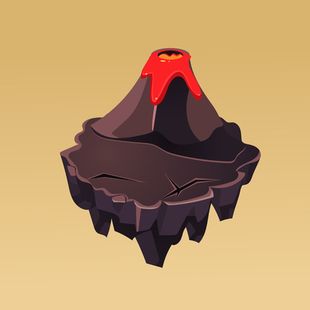 volcano mountain: Cartoon Stone Isometric Island with Volcano for Game, Vector Element