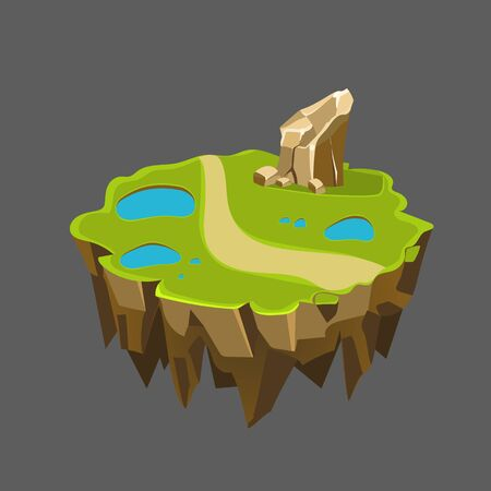 rock layer: Cartoon Stone Isometric Island with Waterfall and Cliff for Game, Vector Element