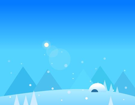 igloo: Wallpaper Landscape of Winter Mountains, Igloo and Moon, Beautiful Vector Illustration