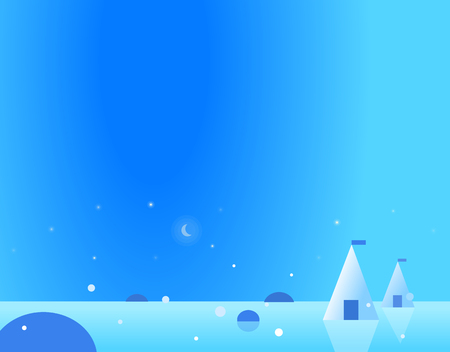 winter sky: Wallpaper Arctic Landscape with Yurts and Moon, Beautiful Vector Illustration Illustration