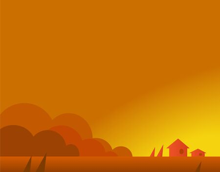 afterglow: Wallpaper Landscape with Village Houses in Autumn, Beautiful Vector Illustration