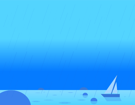 seascape: Wallpaper Landscape of Seascape and Sail, Beautiful Vector Illustration