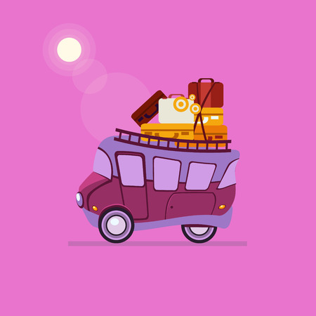 purple car: Purple Car Side View With Heap Of Luggage. Cute Vector Illustration Illustration