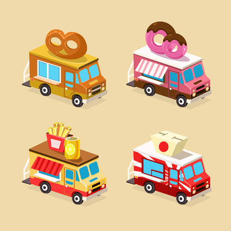 chinese fast food: Food Truck Designs of Donuts, Bakery, Fast Food and Japanese Food. Set of Vector Icons. Vectores