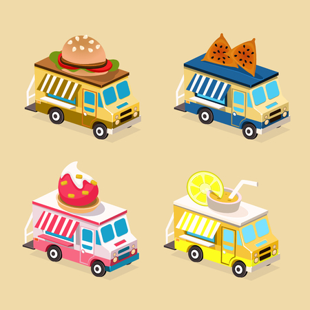 cupcake illustration: Food Truck Designs of Hamburgers, Desserts, Drinks and Bakery. Set of Vector Icons.
