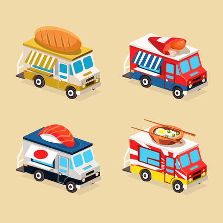 japanese dessert: Food Truck Designs of Burito, Bakery, Sushi and Chinese Food. Set of Vector Icons. Illustration