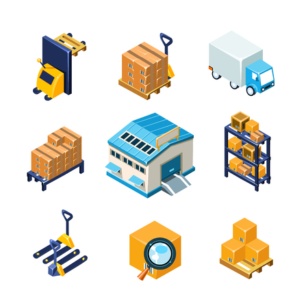 warehouse storage: Warehouse and Logistics Equipment Icon Set. Flat Vector Illustration Collection Illustration