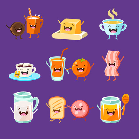 Fun Breakfast. Food with cute faces, happy. Vector illustration set