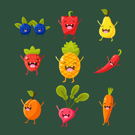 cartoon orange: Cheerful fruit and vegetables. Food with cute faces, happy. Vector illustration set Illustration