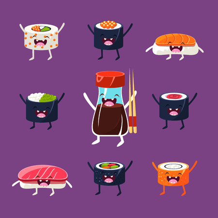 egg roll: Fun sushi and sashimi. Japanese Food with cute faces, happy. Vector illustration set Illustration