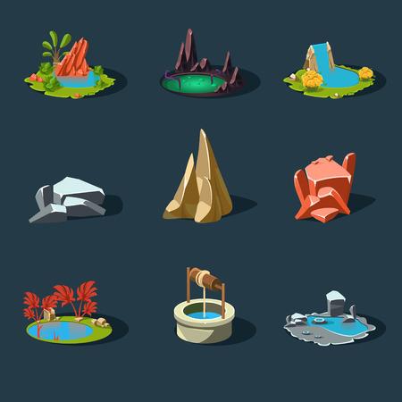 pond water: Elements landscape vector illustration for games modern style