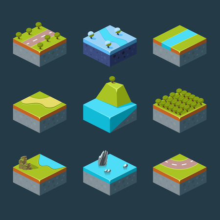 waterfall in forest: Vector of Isometric Landscape set modern style Illustration