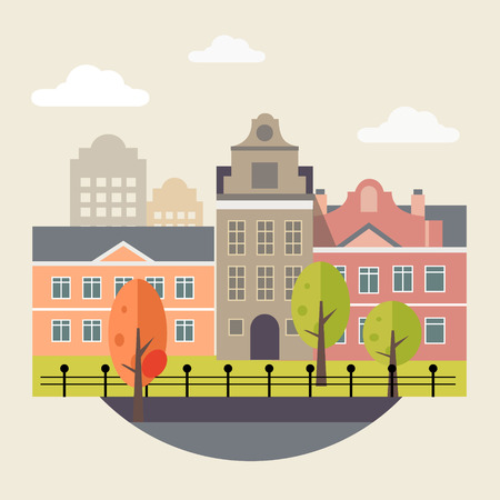 Flat design urban landscape illustration vector modern style
